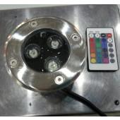 3W RGB LED Underground Buried Light Remote Control Garden Lamp